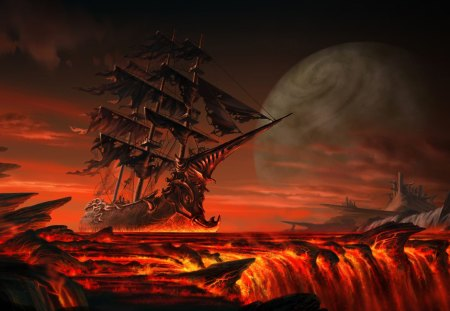fantasy ship - fantasy, red, 3d, dark, ship