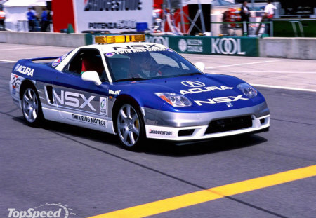 acura nsx - race modified, race car, two seater, pit lane, white, blue, mid engine, silver alloys