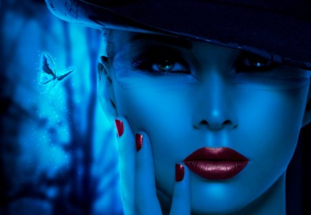Beauty - female, red lips, woman, 3d, abstract, blue, fantasy, beauty