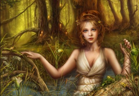 Never after - candles, really, tale, forest, fantasy, magical, fairy, girl, toads, pretty