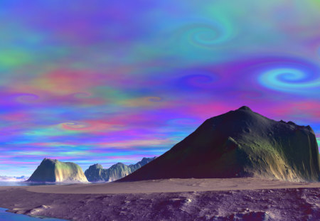 trippy desert sky - trippy, colorful, sky, desert, wow, hippie