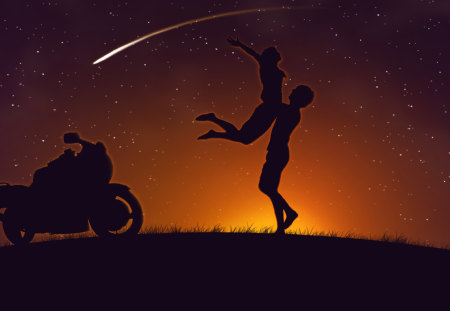 Touch the Stars - couple, motorcycle, joy, two, love, night, comet, stars
