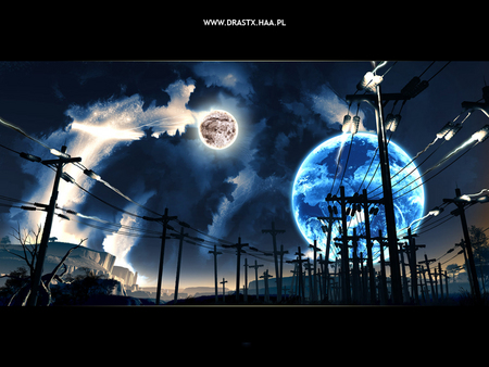 Electric Night - earth dreamscape, night sky, moon, second earth, power poles