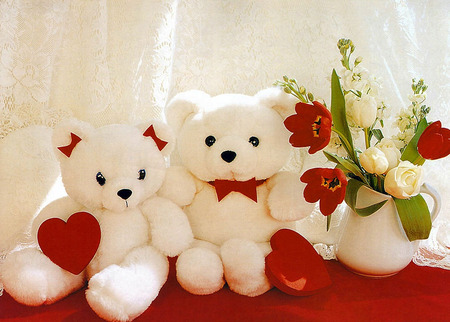 love teddys - Valentines, Valentines Day, white, cute, love, Valentine, teddy