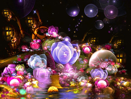 Sweet Night - flowers, balls, colorful, bubbles, lights, color, fantasy