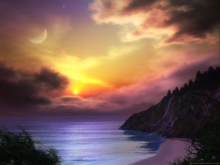Sunset - sky, color, art, clouds, sunset, moon, sea, mountains, fantasy, ocean