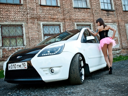 Ford Girl - hair, focus, sexy, ford, babe, woman, black, face, girl, legs, hot, eyes, lips, beautiful, lady