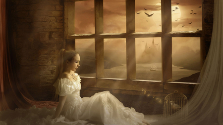 Melodious Fantasy - white gown, girl, melodious, bird cage, windows, river, sunrays, fantasy