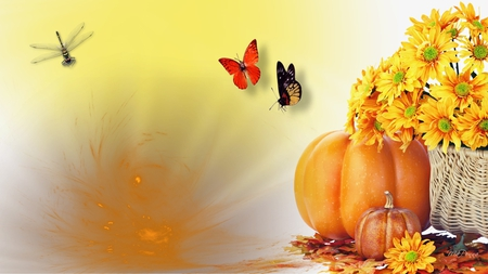 Harvest Festival - flowers, dragonfly, harvest, fall, autumn, pumpkin, yellow, firefox persona, butterflies, gold