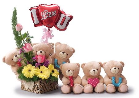 I love you!!! - cool, teddy bears, flowers, beautiful, balloon, ribbon, pretty, harmony, beauty, nice, flower, love, i love you, holiday, rose, colors, lovely, bears, gerbera, heart, gerber, photography, roses, toys, bouquet, ikebana