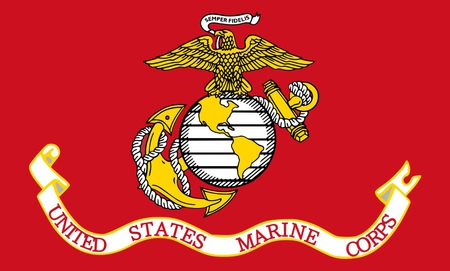 THE MARINE CORPS FLAG - symbol, united states, marines, military, red, flag