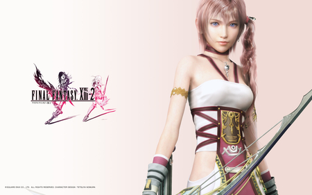 Serah Farron - blue eyes, cool, serah farron, tail, beautiful, pink, farron, beauty, sexy, final fantasy 13, final fantasy, nice, final fantasy 13-2, awesome, necklace, final fantasy xiii-2, warrior, outfit, armor, final fantasy xiii, game, digital, serah, pink hair, bow, archer, uniform, hot, square enix, cg