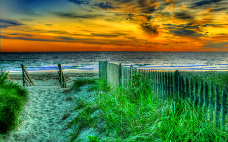 The Way To The Beach - magic, clouds, peaceful, fence, nature, sand, view, sunrise, lovely, grass, way, colors, sunset, beauty, summer, waves, path, colorful, sea, beautiful, green, beach, splendor, sky, ocean