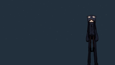 Cute Enderman - minecraft, stunning, long hair, enderman, cute, stars, pretty, black hair, black, anime girl