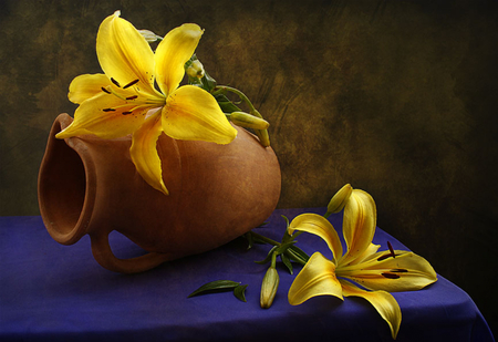 Still Life - flowers, petals, beautiful, floral, pretty, lovely, romantic, lilies, beauty, yellow, photography, still life, yellow flowers, nature, lily, romance