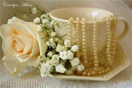 Tea-colored - pleasant, rose, flowers, pearls, beautiful, elegant, beauty, tea-colored, refined, tea cup