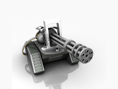 Abstract Six-Barreled Machine Gun Tank - machine gun, ammunition, wepon, six-barrel, 3d, abstract, tank