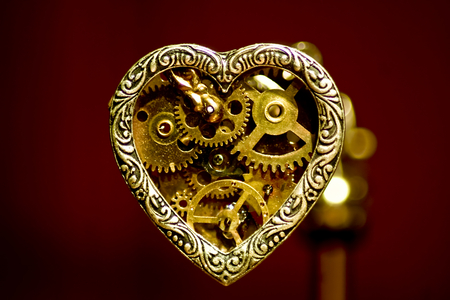 Mechanical Love - pendant, gears, mechanical, punk, love, steampunk, steam, heart