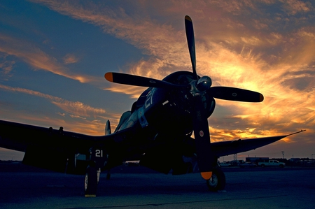 Sunset Corsair - sunset, f4u, airplane, vought, corsair, plane, wwii, f2, goodyear, ww2