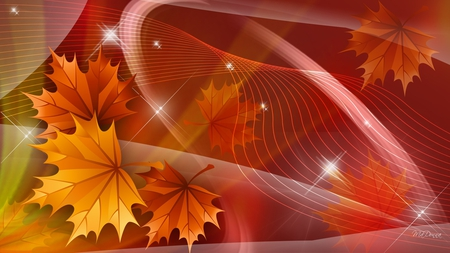 Bright Colors of Fall - gold, leaves, stars, swish, firefox persona, autumn, swirls, fall, yellow, orange