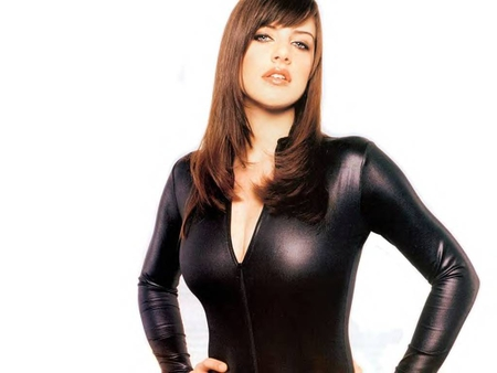 Michelle Ryan in a Black Leather Catsuit - female, glamour, model, fame