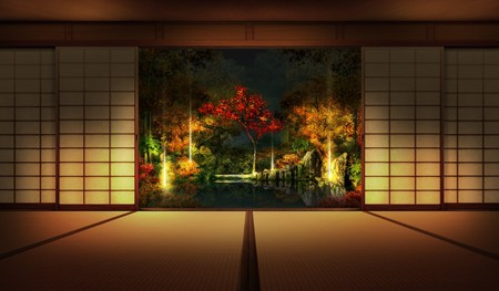 Japanese Garden At Night japanese garden night - 3d and cg & abstract background wallpapers