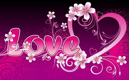 Love - flowers, widescreen, pink, love, valentines day, heart