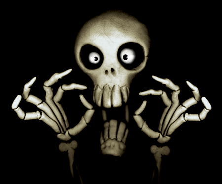 SCARY SKULL - spooky, black, white, bones, scary, skull