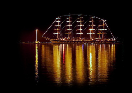 Love boat - amazing, sailboat, beautiful, night