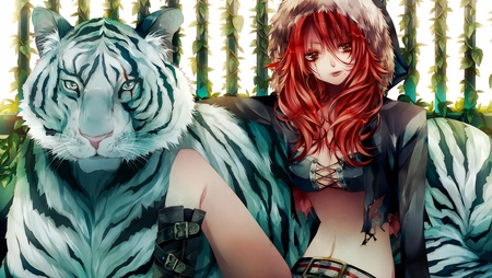 girl and siberian tiger - tiger, wonan, white, 3d, siberian, red