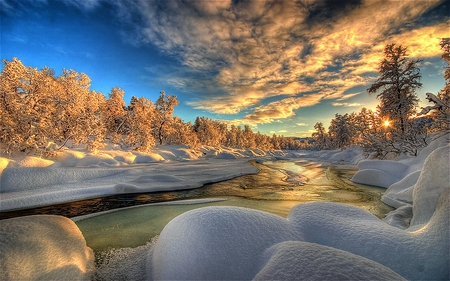 Winterscape - cold, colorful, sky, white, snow, beauty
