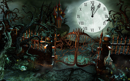 Halloween Castle Clock - 3d and cg, halloween, abstract, holiday, fantasy