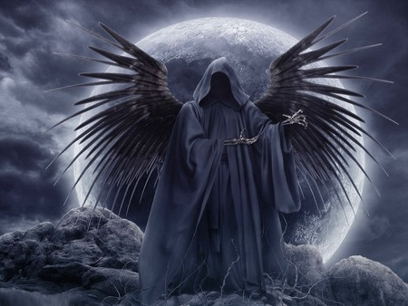 Gothic Angel - dark, reaper, gothic, angel, moon, fantasy