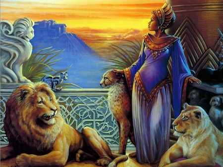 lions and girl - girl, lion, woman, art, fantasy