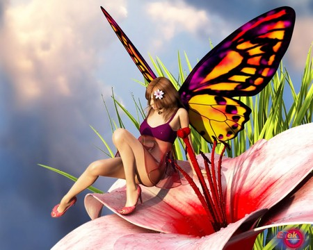 Butterfly Girl !!! - cute, abstract, colors, lovely, hot girl, sexy, anime, girl, butterfly, flower, nice, hot butterfly, hot, red, fantasy, sweet
