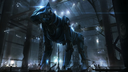 Giant Robotic Dog - dog, building, abstract, robot, machine