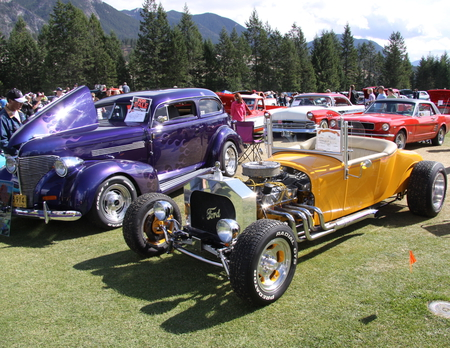 1926 Ford at the  Radium Hot Springs car show 75  - Photography, Headlights, Chrome, tree, yellow, purple, white, mountains, red, Engine, car, green, Ford, black, silver, clouds, nickel, tires