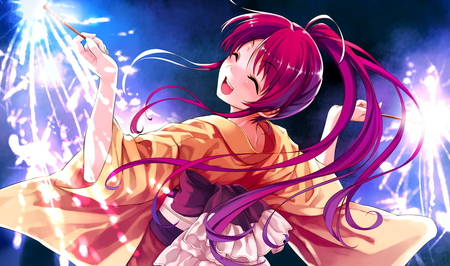 Playing with firework - girl, new year, firework, kimono, anime