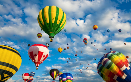 Up In The Sky - balloons, splendor, race, hot air balloon, beautiful, hot air balloons, balloon, pretty, ballon, view, beauty, many, ride, colorful, sky, colors, lovely, photography, clouds, nature, peaceful