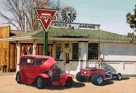 Route 66 garage ford cars background wallpapers on for Garage route 66 metz