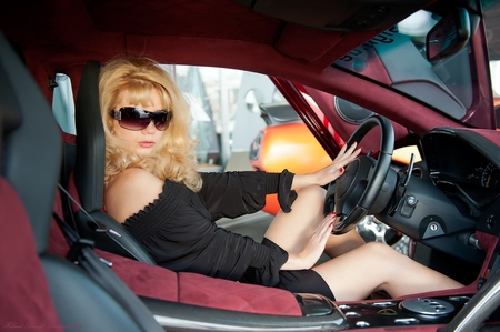 car - blond, black, car, girl