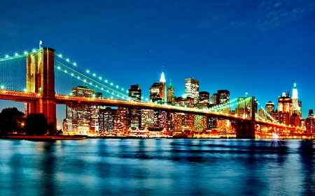 Brooklin Bridge - lights, architecture, bridge, river