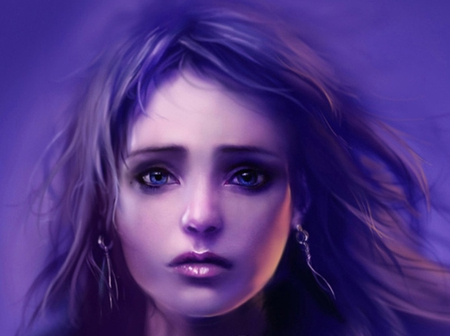 Hecate - hecate, face, female, girl, purple, fantasy, eye, sad, cg