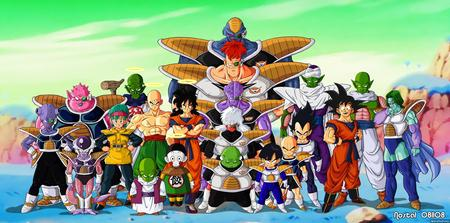dragon ball on namek - bolma, gohan, krillin, picollo, goku, vegeta, cell, gineuforce