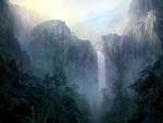 Painted Waterfall Scene