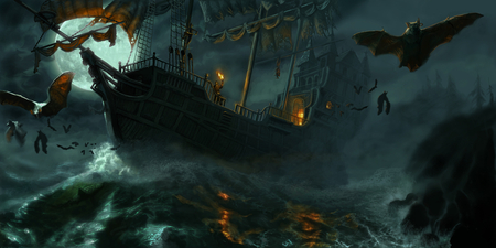 haunted ship - spooky, halloween, sky, bats, dark, water, gothic, moon, ship, scary, sea