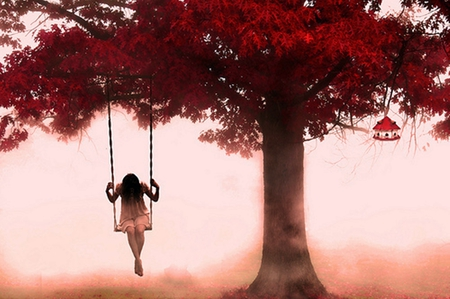Sad Woman - girl, pink, art work, abstract, tree, fantasy, sad