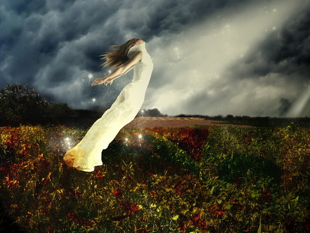 Free - ray, field, free, girl, dark, freedom, woman, flight, fantasy