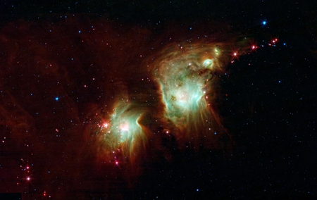 Star Formation in Orion - space, dust, nebulae, orion, spitzer space telescope, infrared, stars