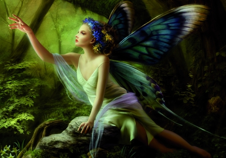 Lovely Fairie - flowers, wings, amazing, beautiful, angel, figure, blue, abstract, art, pretty, girl, female, nice, woman, fine art, fantasy, green, gorgeous, colors, fairie, digital, 3d, cg